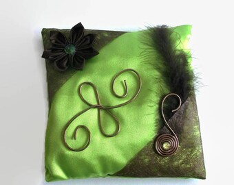 Green and Brown wedding ring cushion