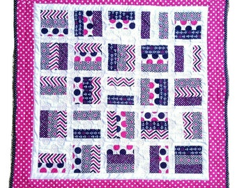 Pink & Navy Polka Dot Baby Quilt, Toddler Blanket, Baby Girl Quilt, Baby Shower, Nursery
