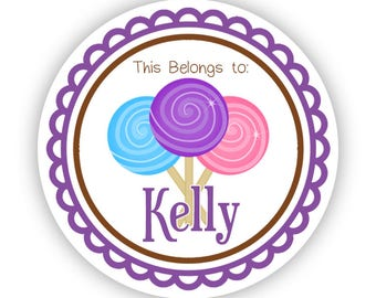Name Label Stickers - Brown and Purple Sweet Lollipop Candy Personalized Name Tag Sticker - Round Sticker Label - Perfect for Back to School