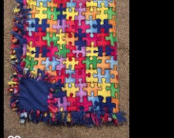 """Hand Made No Sew Fleece Autism Blanket 61"""" x 73"""""""