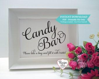 Candy Bar Template Printable Wedding Sign, Dessert Bar Sign, Printable Sign, Bridal Shower, Instant Download, PDF, DIY Wedding Decor 8x10