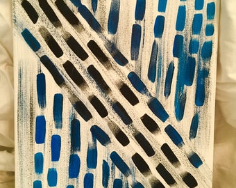 Black and Blue Geometric Painting