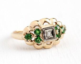 Diamond & Garnet Ring - Vintage Green Tsavorite 14k Rosy Yellow Gold Cluster Ring - Size 6 3/4 1950s Mid Century Engagement Fine Jewelry