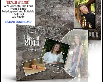 2018 Senior Invitation 5x7 Flat Card Photoshop Template BEACH STONE. Graduation ceremony announcement. Professional easy to use.