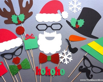 Christmas Photo Props - 21 piece set - Makes GREAT Christmas Cards - Santa and Friends