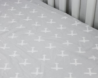 Fitted Crib Sheet - Grey Airplanes