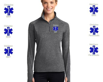 Personalized EMT EMS Paramedic Zip Athletic Dri-Fit Lightweight Pullover Jacket - Embroidered. Emt Ems Paramedic Gifts For Women. SM-LST850.