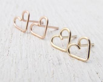 Minimal Stud Earrings / Gold Filled Heart Stud Earrings / Pink or Yellow Gold Filled / Heart Jewelry / Gold Filled Earrings / Post Earrings
