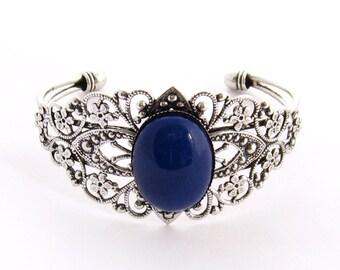 Romantic Blue Victorian Bracelet, Crystal Bermuda Blue Silver Filigree Cuff Bracelet Antique Silver Bracelet Prom Renaissance Jewelry