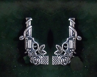 38 Caliber Revolver Gun Stud Earrings with Roses Sterling Silver Free Domestic Shipping