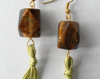 Wood and Tassel Earrings
