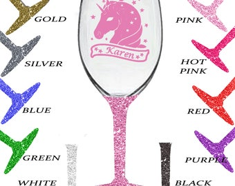 UNICORN Personalised Glitter Wine Glass Your Name 12 Colours