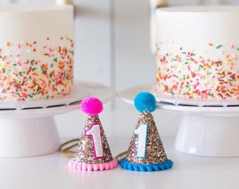 Twins Birthday Hat || Party Hat || First Birthday Hat | |Pink Girl Hat ||  1st Birthday Party Hat || Glitter Party Hat || Mini Party Hat