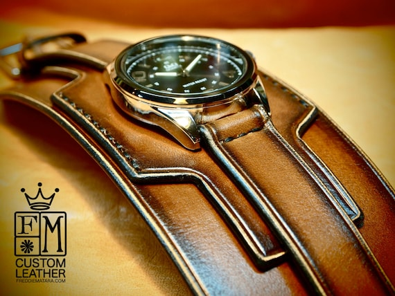 Leather cuff watch Tobacco Brown sunburst wide layered leather watch band Hand made for YOU in USA by Freddie Matara!