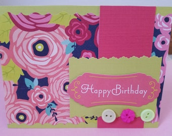 Bright and Bold Floral Happy Birthday Greeting Card
