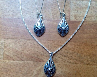Antique tibetan silver teardrop charm necklace and earring set