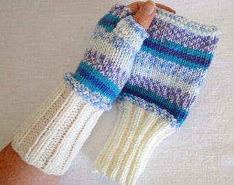 Fingerless Gloves Knit Sea Spray Wrist Warmers