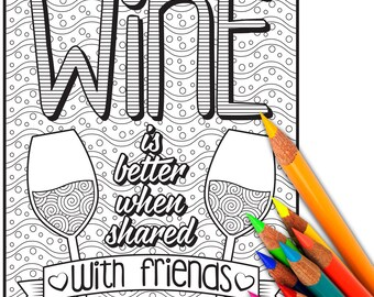 WINE Adult Coloring Pages Adult