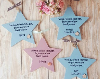 Personalised Star wall hanging. Twinkle Twinkle little Star