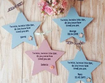 Personalised Star wall hanging. Twinkle Twinkle little Star