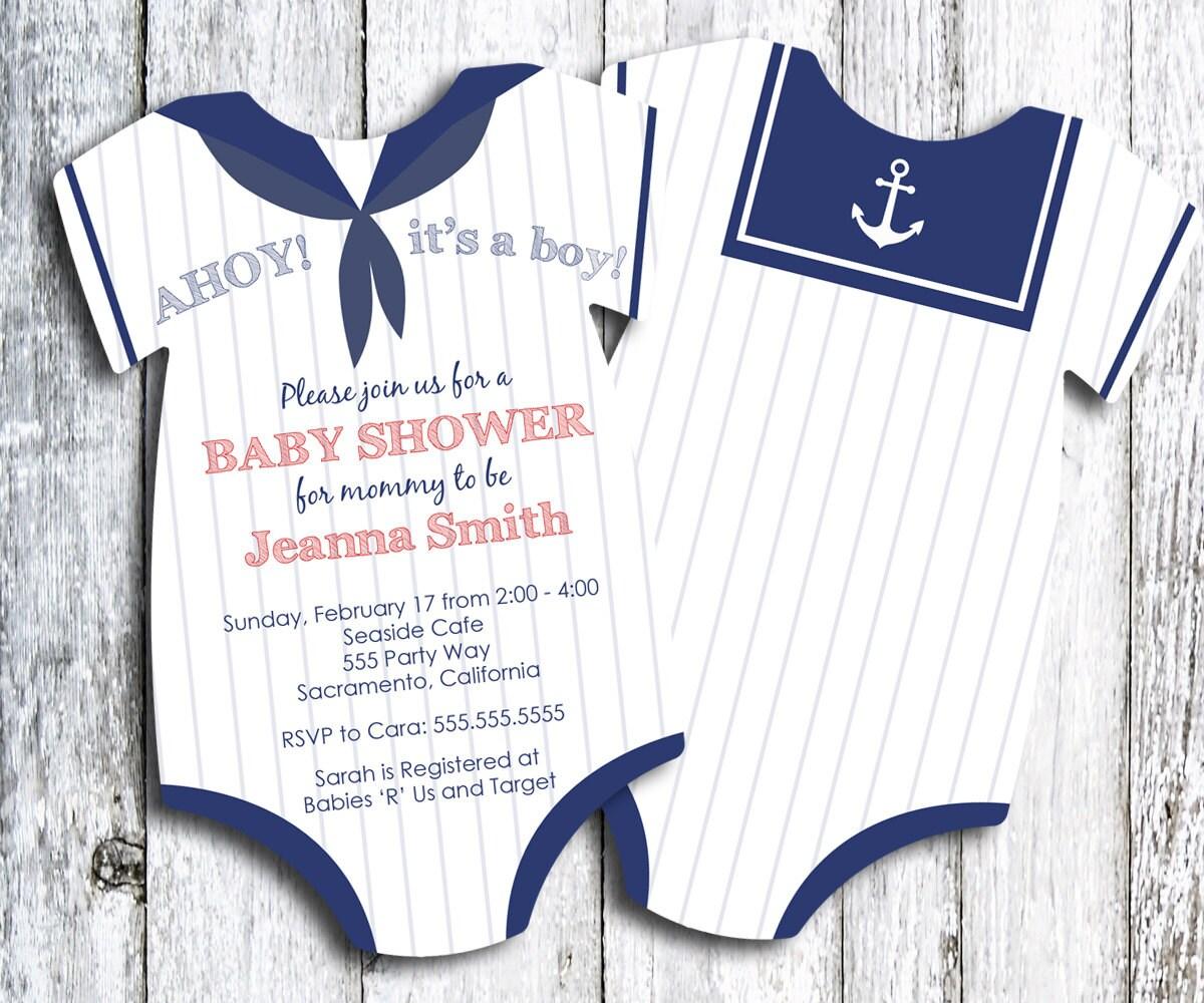 Sailor Baby Shower Invitation Nautical Themed Shower