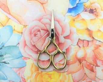 Vintage Rose Craft Scissors   Gold Sewing Scissors   Small Scissors   Stitching scissors   Fancy scissors   Engraved scissors Retro scissors