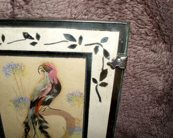 Vintage Mexican Art Feathercraft Picture of a Parrot on the Branch in a Glass Frame with Silver Trimmings and Sterling Silver Clasps