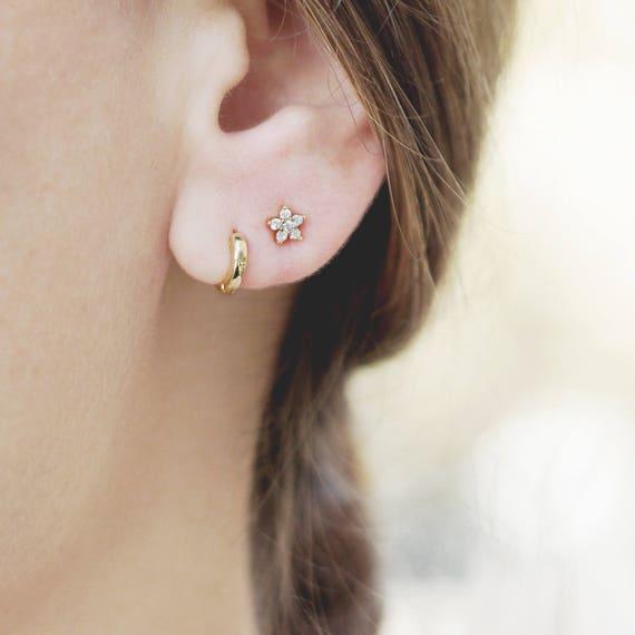 huggie earrings tiny hoop earring second earring gold