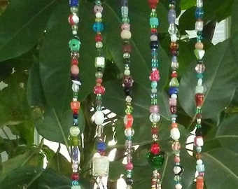 Driftwood Rainbow Sun Catcher Wind Chime - Boho Window Decor - Hanging Garden Art - Bead Suncatcher - Beaded Mobile - Glass Bead Windchime