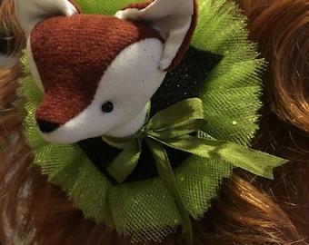 Fox Faux Vegan Taxidermy Barrette Fascinator, soft sculpture, plush forest animal hair accessory, brooch, pin, green glitter sparkles