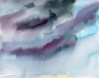 Watercolor Landscape, Abstract Art Print, Sky, Clouds, sunset, Painting, Modern Art, Expressionist, Minimalist, Bohemian
