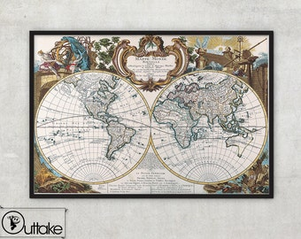 World map print - Vintage wall Map Fine Art archival print - 010