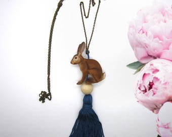 """""""Forget-me-not"""" - long necklace SAUTOIR with Hare / rabbit and tassel - Collection """"animals of the Princess"""""""