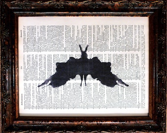 Rorschach Ink Blot 5 Art Print on Dictionary Book Page