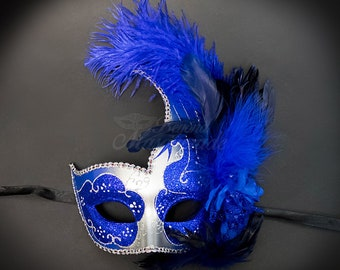 Masquerade Mask, Feather Masquerade Mask, Feather Masks, Mardi Gras Mask, Mardi Gras Masks, Masquerade Ball - Silver/Royal Blue