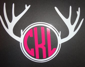 Deer Horn Monogram car decal