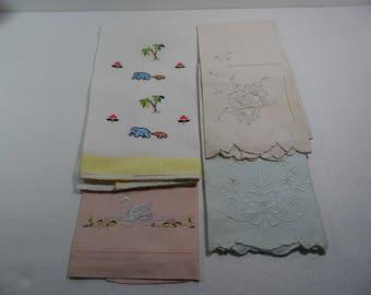Vintage 4  Linen Finger Tip Towels Shabby Cottage Chic Midcentury