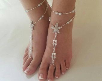 Beach wedding barefoot sandals-Bridal foot jewelry Rhinestone starfish barefoot sandals Barefoot Sandals Bridal shoes Footless sandals