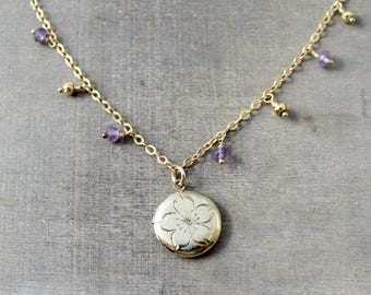 Round Gold Locket, Gold Dangle Choker, February Birthstone Locket, Gold Picture Locket, Amethyst Locket, Push Present, Gold Fringe Necklace