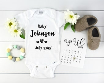 Baby Announcement Custom Onesie / custom pregnancy reveal