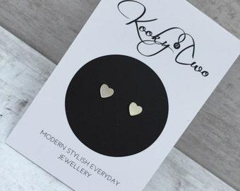 Heart Sterling Silver Stud Earrings/Heart/Minimalist/Dainty/Silver/Earrings/Everyday Wear/Gift/Bridal