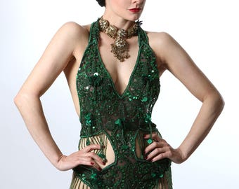 Embellished Green Sequin Showgirl Body