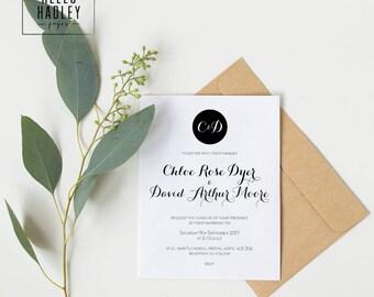Sample wedding invitation set - Moore collection