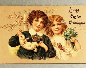 Antique 1800's Easter Postcard, Two Little Children WiTh Their Easter BunnIes, Raphael Tuck, Embossed, Wonderful Vintage Post Card