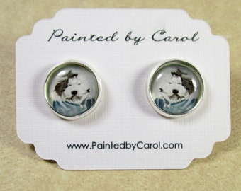 Old English Sheepdog Earrings, OES Gifts, Sheepdog Jewelry, Dulux Dog Earrings, Dulux Dog Jewelry, OES Jewelry, OES Earrings, Sheepdog Studs