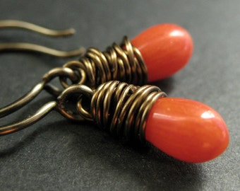 BRONZE Earrings - Orange Coral Earrings. Wire Wrapped Earrings. Teardrop Earrings. Handmade Jewelry.