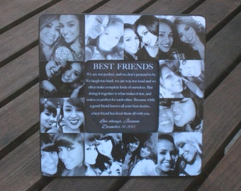 "Best Friends Collage Frame, Personalized Sister Gift, Unique Maid of Honor Picture Frame, Custom Bridesmaid, Birthday Photo Gift, 8"" x 8"""
