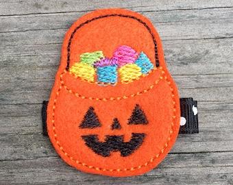 Halloween Hair Clip, Jack-o-Lantern Hair Clip, Trick or Treat Hair Clip, Candy Hair Clip, Halloween Hair Bow, Halloween Candy Hair Clip
