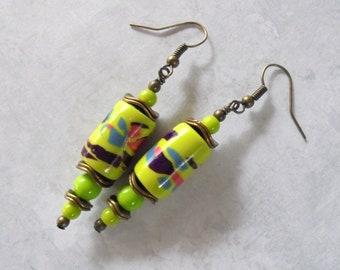 Lime Green and Brass Boho Earrings (4467)