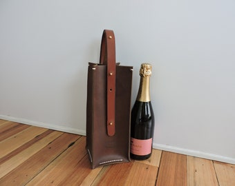 Leather Wine Carrier / Wine Tote / Wine Bag / Wine Bottle Holder / Liquor Tote Bag